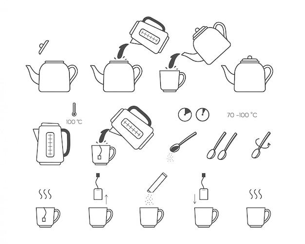 Satz tee-anweisungssymbole. schritte zum kochen von tee.