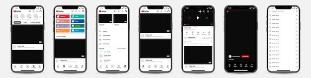 Satz telefone mit youtube-vorlagenrahmen für soziales netzwerk