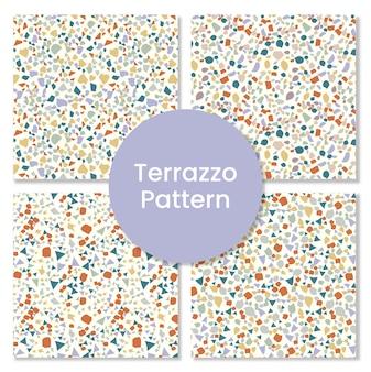 Satz terrazzomuster mit abstrakten formen.