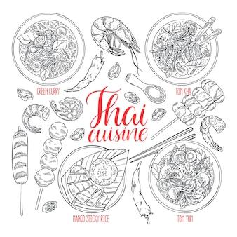 Satz thailändische küche in der hand gezeichnet