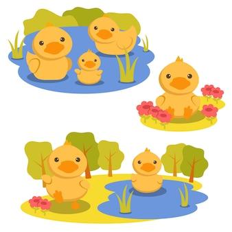 Satz tiercharakter mit einer ente, die im wasser und im blumengarten spielt