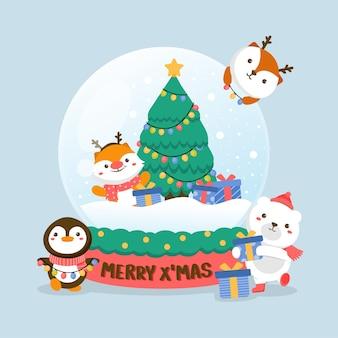 Satz tiercharakter mit hirsch, weißem bären, pinguin, weihnachtsbaum und geschenkbox in glaskugel.