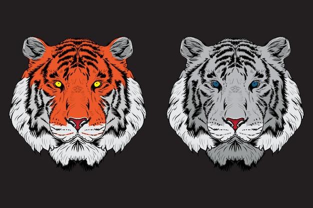 Satz tigerkopfillustration.