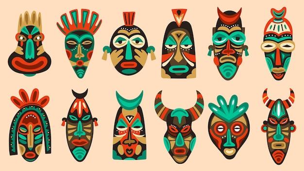 Satz traditioneller stammesmasken