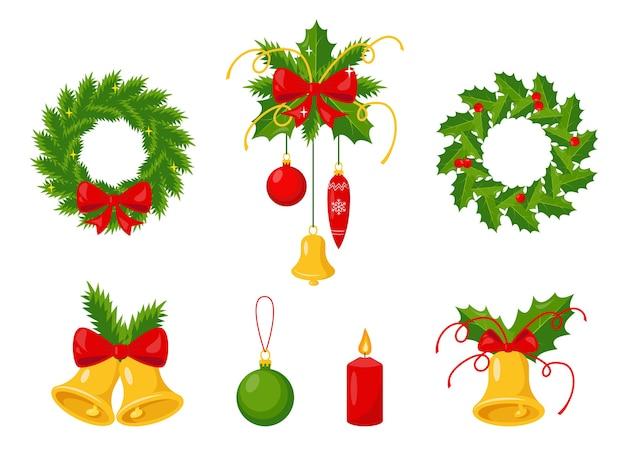 Satz traditioneller weihnachtsdekorationen.
