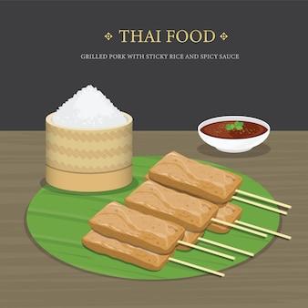 Satz traditionelles thailändisches essen, gegrilltes schweinefleisch mit klebreis und würziger soße über bananenblatt. karikaturillustration.