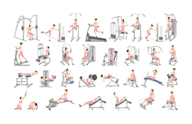 Satz training für frauen auf trainingsgeräten. sportgeräte für fitness. gesunder und aktiver lebensstil. isolierte vektorillustration