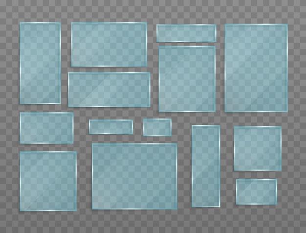 Satz transparente banner aus glas