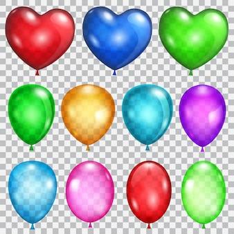 Satz transparente luftballons in verschiedenen farben
