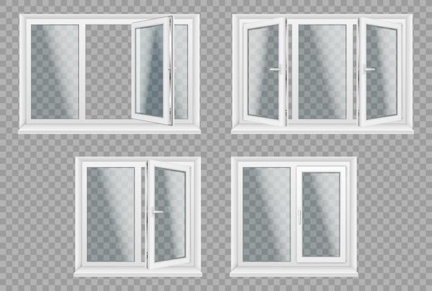 Satz transparente metallkunststofffenster. energiekostensparende pflegeleichte kunststoff-pvc-fensterrahmen