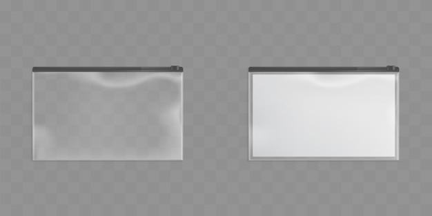 Satz transparente reißverschlusstaschen mit schwarzem reißverschluss