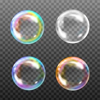 Satz transparente seifenblasen auf kariertem hintergrund. realistisch gefärbte kugeln.