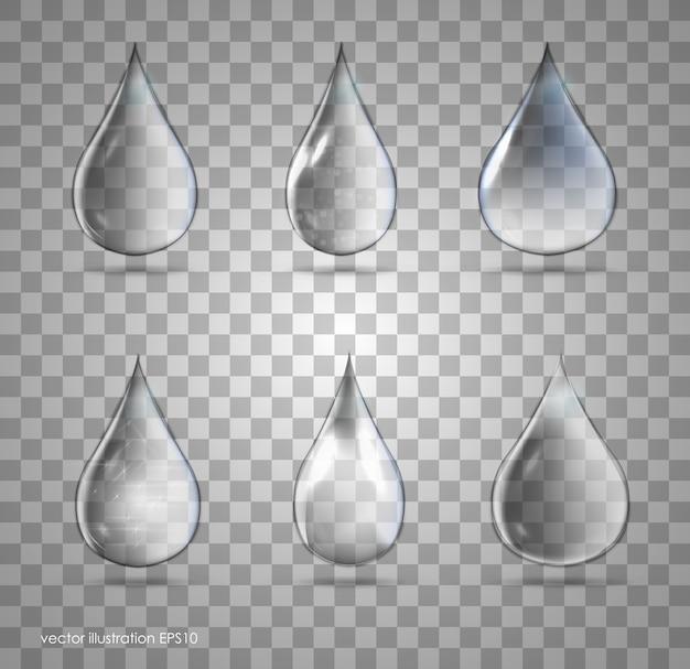 Satz transparente tropfen in grauen farben. kann mit jedem hintergrund verwendet werden.
