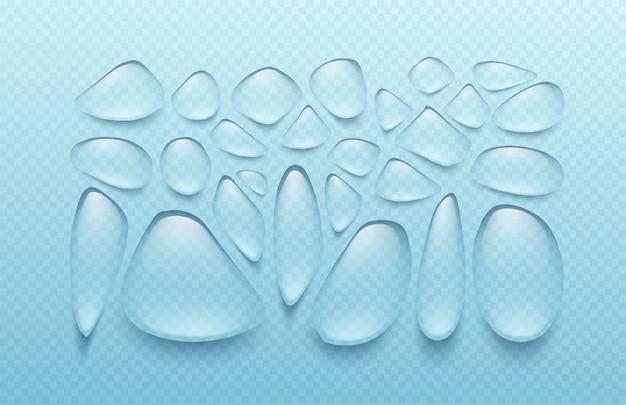 Satz transparente tropfen verschiedener formen in grauen farben. der wahre effekt von transparenz. illustration