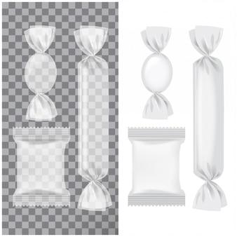 Satz transparente und weiße folienpackung für süßigkeiten und andere produkte, lebensmittelsnackpackung