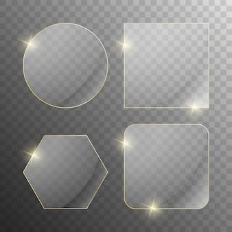 Satz transparenter glasrahmen