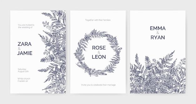 Satz trendige hochzeitseinladungsschablonen verziert mit eleganten farnen, wilden kräutern und krautigen pflanzen