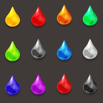 Satz tropfen verschiedener farben der flüssigkeit, des vektors, des karikaturstils, der illustration, lokalisiert