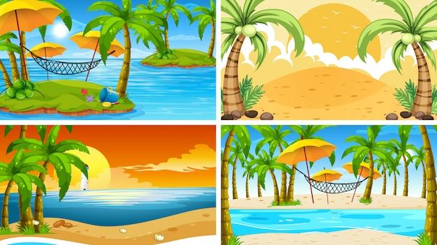 Satz tropische ozeannaturszenen oder -hintergrund mit stränden