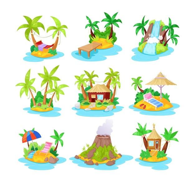 Satz tropischer inseln der karikatur, tropische hotels im ozean mit palmen, bungalow, vulkan, wasserfall. sommerlandschaft der natur, zum entspannen, reisen. landschaft der insel. vektor-illustration.