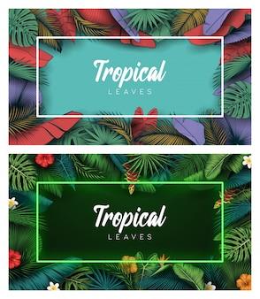 Satz tropischer sommer verlässt hintergrund mit dschungelpflanzen