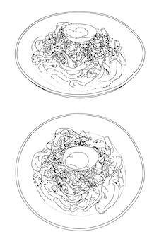 Satz udon-nudeln mit linearem skizzengekritzel des eies