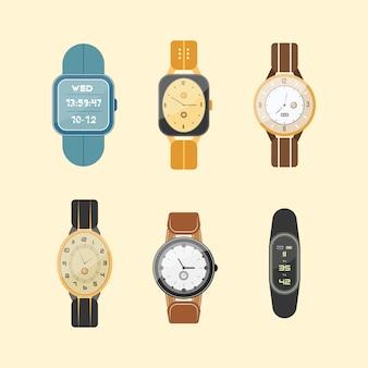 Satz uhren lokalisiert auf weißem hintergrund. armbanduhr. digitale und klassische uhrenkollektion von mann und frau im flachen design.