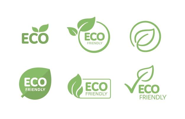 Satz umweltfreundlicher textetiketten für das verpackungsdesign von umweltfreundlichen, natürlichen und biologischen produkten.