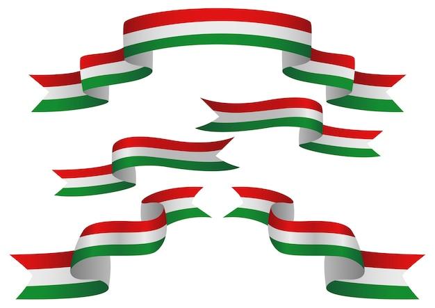 Satz ungarn-insignien in der unterschiedlichen form von bändern