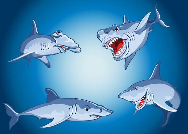 Satz unheimliche haie im karikaturstil