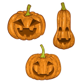 Satz unheimlicher halloween-kürbis auf weißem hintergrund. element für logo, etikett, emblem, zeichen, abzeichen. bild