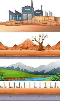 Satz unterschiedlicher landschaft