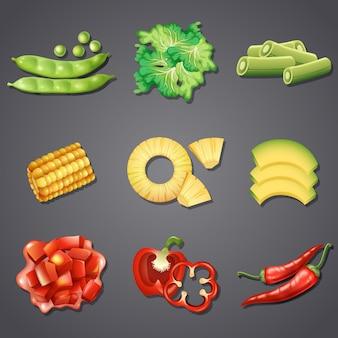 Satz unterschiedliches gemüse und frucht