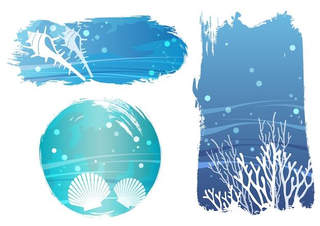 Satz unterwasser-vektor-hintergrund-illustrationen mit muschelfischen und korallen isoliert