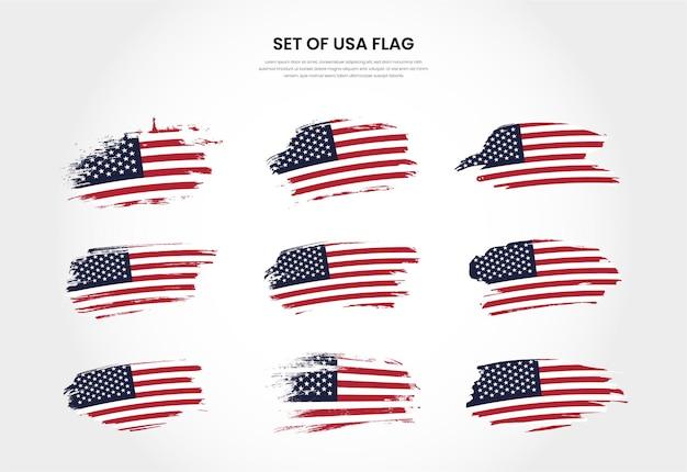 Satz usa land grunge pinsel strich flaggen sammlung