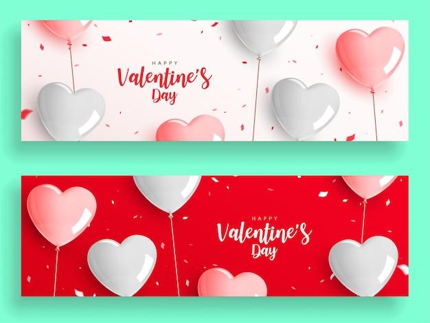 Satz valentinstag-banner, herzförmiger ballon mit seil und konfetti.