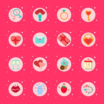 Satz valentinstag elemente, geschenke, boxen romantischen urlaub elements collection