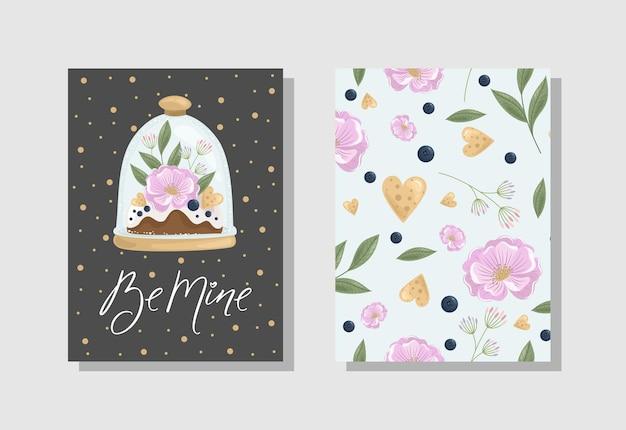 Satz valentinstag grußkarte mit blumen süßigkeiten zweige romantische elemente und handgeschriebener text