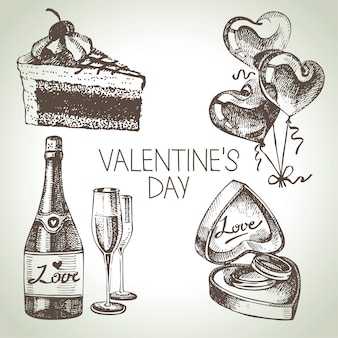 Satz valentinstag. handgezeichnete illustrationen