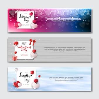 Satz valentinstag-horizontale fahnen-feiertags-einkaufsdiskont-plakat-sammlung