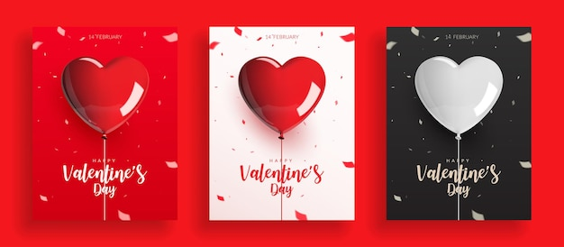 Satz valentinstag, luftballons mit seil und konfetti.