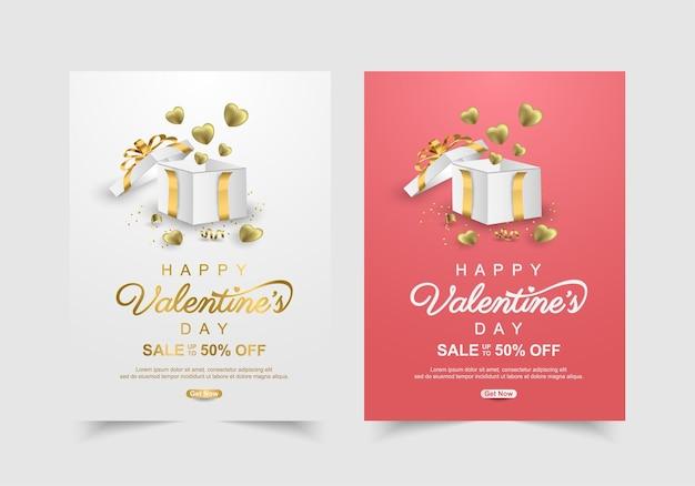 Satz valentinstag-verkaufsfahne mit geschenkbox. werbe- und einkaufsvorlage oder aus liebe