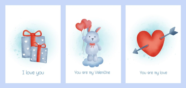 Satz valentinstagskarten mit niedlichem kaninchen.
