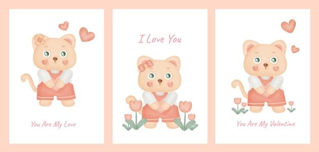 Satz valentinstagskarten mit niedlicher katze.