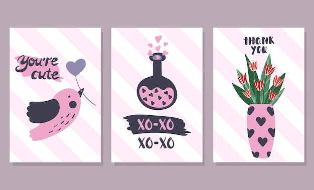 Satz valentinstagskarten ..