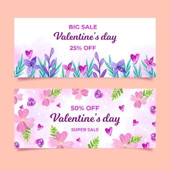 Satz valentinstagverkaufsfahnen