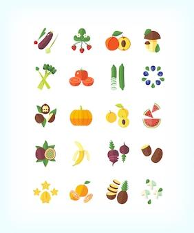 Satz vegetarische bio-lebensmittel. obst und gemüse icon set.