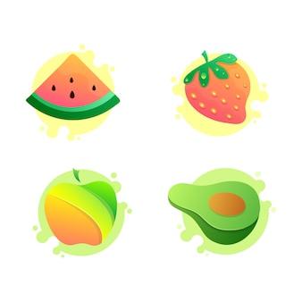 Satz vektor-fruchtikonen, wassermelone, apfel, avocado, erdbeere