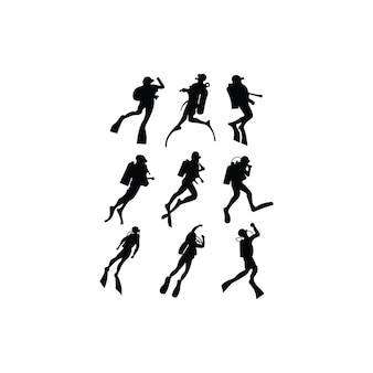 Satz vektor silhouettiert sporttauchen in den verschiedenen haltungen. taucherinspirationsvektor
