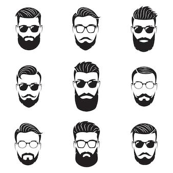 Satz vektorbärtige männergesichter, hipster mit verschiedenen haarschnitten, schnurrbärte, bärte. hipster-silhouetten, embleme, symbole, etiketten.